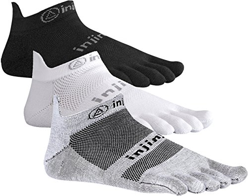 Lightweight Ped Socks (Injinji Run 2.0 Lightweight No Show Toe Socks 3 Pack (Black/Gray/White, Medium))