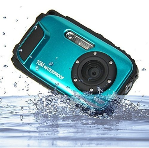 KINGEAR PDK0025 2.7 Inch LCD Cameras 16MP Digital Camera Underwater 10m Waterproof Camera+ 8x Zoom–Blue