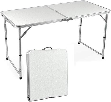 QITAO® Mesa Plegable de Aluminio para jardín, para Camping, Picnic, Fiesta, Campo, Cocina, Barbacoa, Mesa