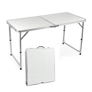 QITAO® Mesa Plegable de Aluminio para jardín, para Camping, Picnic, Fiesta,