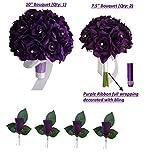 3 Bouquet 4 Boutonnieres - Purple Bouquet Wedding Flowers Package - Silk Flower