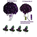 3-Bouquet-4-Boutonnieres-Purple-Bouquet-Wedding-Flowers-Package-Silk-Flower