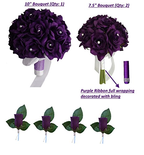 3 Bouquet 4 Boutonnieres - Purple Bouquet Wedding Flowers Package - Silk Flower by Angel Isabella