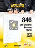 TopFilter Vacuum Cleaner Bags for Samsung 846, 4, Taurus, ctc-clatronic Dust Box Fleece Vacuum Bags, 4Bags (30x 26x 0.1cm