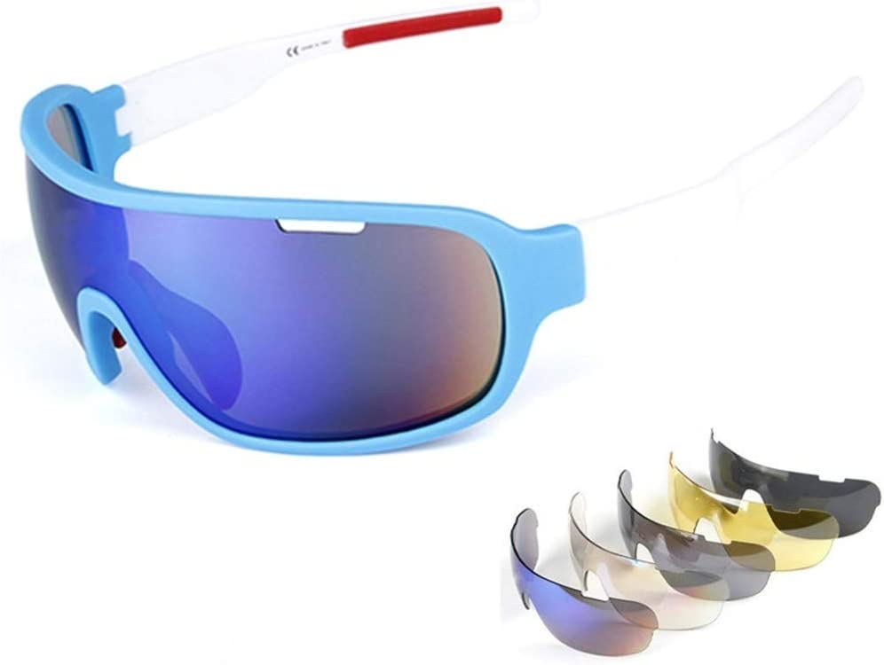 Baselay Polarized Sports Sunglasses with 5 Interchangeable Lenses UV400 Protection Cycling Sun Glasses for Men Women MTB Outdoor Running Driving Fishing Golfing