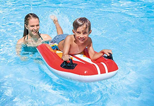 NTS red/Yellow Children's Swimming Ring Inflatable Water Board Children's Play Water Surfing Floating Row Handle Water Drifting Bed, Specifications: 112x62Cm. (red) by NTS