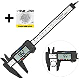 Digital Caliper with Large LCD Screen Plastic Electronic Vernier Caliper Measuring Tool, 0-6 In/0-150 mm Conversion Auto Off Featured with Extra 1 Battery by Bseen