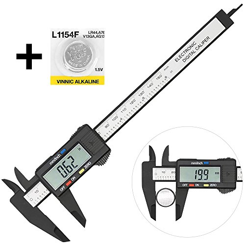 Digital Caliper with Large LCD Screen Plastic Electronic Vernier Caliper Measuring Tool, 0-6 In/0-150 mm Conversion Auto Off Featured with Extra 1 Battery by Bseen - Outside Digital Caliper