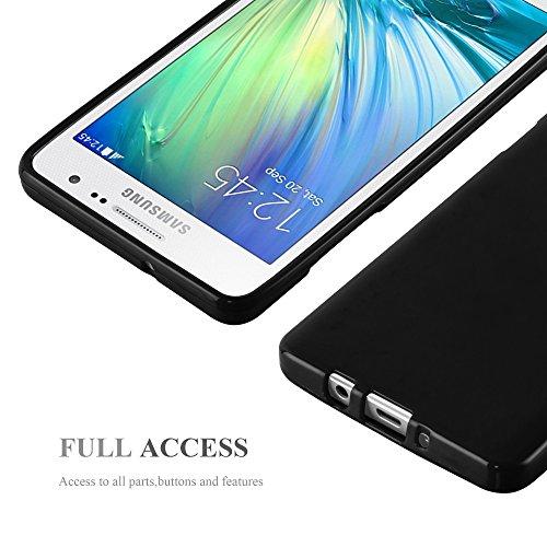 Cadorabo - Cubierta protectora para Samsung Galaxy A5 (Modelo 2015) de silicona TPU en Diseño Jelly - Case Cover Funda Carcasa Protección Jalea en JELLY-AMARILLO JELLY-NEGRO