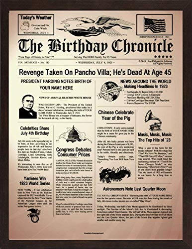 THE BIRTHDAY CHRONICLE ($20.95 UP) 11x14 Inch, 1/1/1900 to 12/31/2016, Optional Frames, Several Backgrounds, Thick Cardstock or Photo Paper