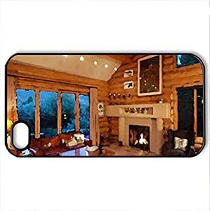 Living Room - Case Cover for iPhone 4 and 4s (Houses Series, Watercolor style, Black)