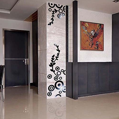 (certainPL Creative Circle Ring Acrylic Mirror Wall Stickers 3D Home Room Decor Decals (Black))