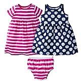Image of Gerber Baby Toddler Girls' 3 Piece Dress Set, Pink Stripe/Navy Polka Dot, 3T