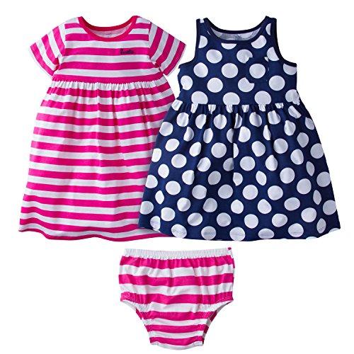 Gerber Baby Girls' 3 Piece Dress Set, Pink Stripe/Navy Polka Dot, 12 Months