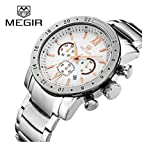 MEGIR Men Quartz Wrist Chronograph Waterproof Luxury Business Watch with Leather Stylish Military Analog Calendar Watch