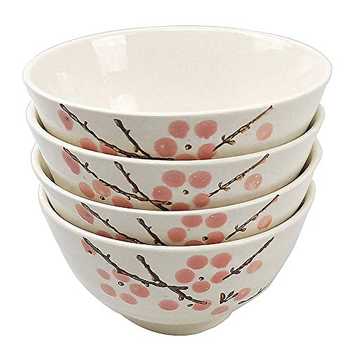 Japanese Style Rice Bowl Set, Chinese Red Plum Rice Bowls Set of 4 for Family