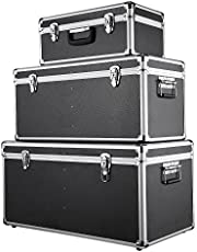 iKayaa 3 st verktygslådor i aluminium flyg fodral byrå förvaringslådor behållare låsbar stor/mellan/liten storlek med handtag