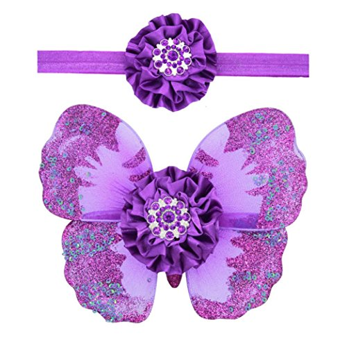 Amiley Baby Girls Newborn Butterfly Wings Costume Photo Photography Prop Outfits (Purple)