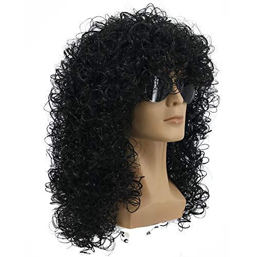 (Yuehong 70s 80s Rocking Dude Afro Wig Men's Rocker Anime Cosplay Male Wig Long Curly Black Wig Hair Wigs )