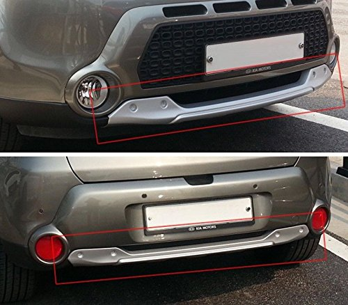 hannahs Front + Rear Bumper DIFFUSER Skid Plate Silver 2-pc Set For 2014-2017 Kia Soul : ALL NEW SOUL