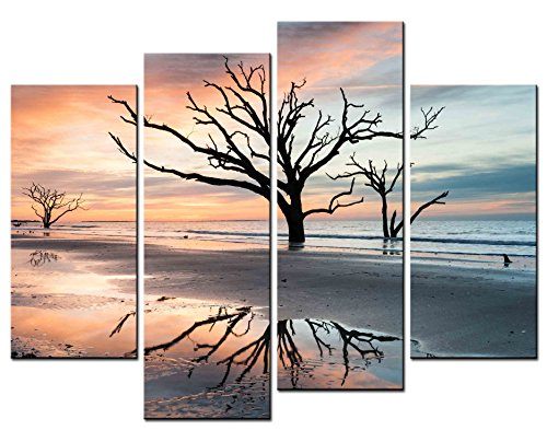 Photo Tree Dead (SmartWallArt - Natural Landscape Paintings Wall Art Atlantic Sea Tide Reflect a Dead Tree 4 Panel Picture Print on Canvas for Modern Home Decoration)