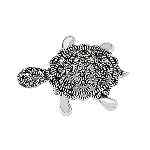 Sterling Silver Filigree Moveable Antiqued Marcasite Turtle Pin Brooch 33mm x 23mm