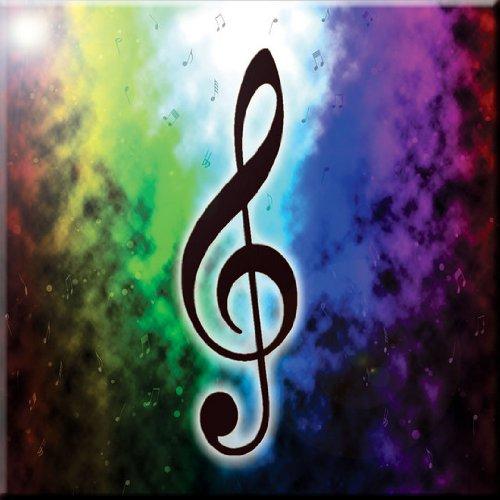 Rikki Knight Music Notes on Rainbow Blue Smokey Background Design Art Ceramic Tile, 4 by 4-Inch