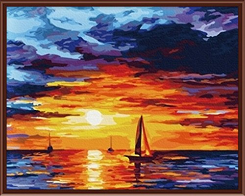 PAINTBOY DIY Painting By Numbers Canvas Oil Paint Of Seascape Of Sunset Painting For Living Room 1620 inch