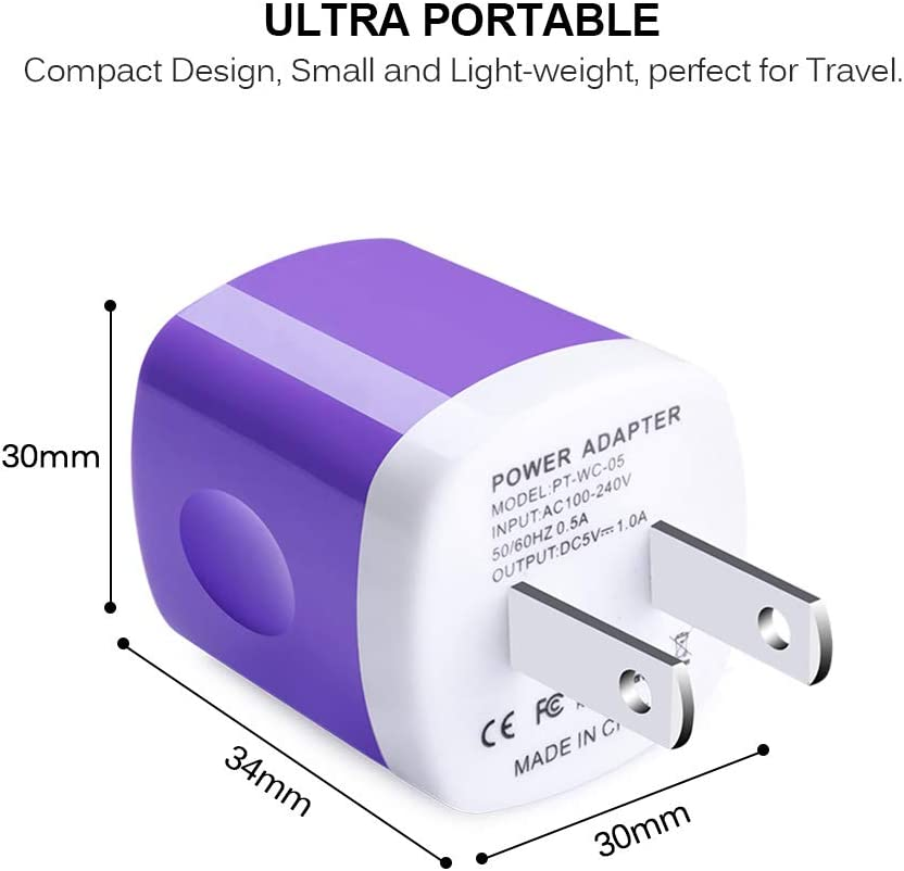 USB Wall Charger,TePoo 5 Pack Single Port 1A//5V Charging Block Power Adapter Plug Compatible with iPhone XS Max//XR//X//8//7//6S//5,Samsung Galaxy S10e//S9//S8 Plus//Note 9 8,LG G8 G7,Moto,Pixel,Nexus,Android