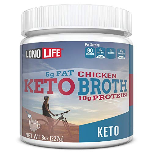 LonoLife Keto Chicken Bone Broth, 5g Fat, 10g Protein, 8oz Bulk Container, 12 Servings