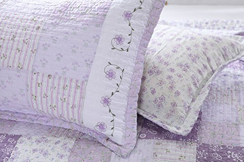 Cozy Line Home Fashions King Shams 20''x 36'', Love of Lilac Light Purple Orchid Lavender Real Patchwork 100% Cotton Quilted Pillow Sham, Gifts for Women Girls (King Shams (Set of 2)) by Cozy Line Home Fashions