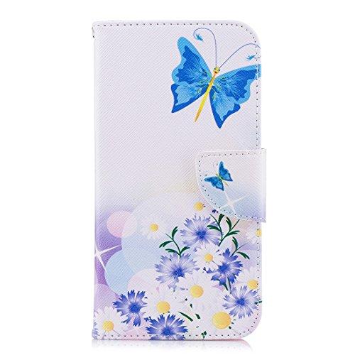 Hozor LG K10 2018/K11 cas, conception d'impression en aérosol peint, PU portefeuille en cuir Flip, avec fermeture magnétique, étui de protection avec fente pour carte/support Blue butterfly