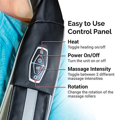 TruMedic InstaShiatsu+ Shiatsu Neck & Shoulder Massager with Heat – 3 Massage Speeds, Cordless & Rechargeable – Use at…