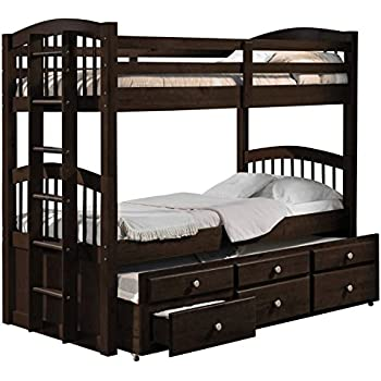 acme furniture micah bunk bed with trundle and 3 drawers espresso twin over