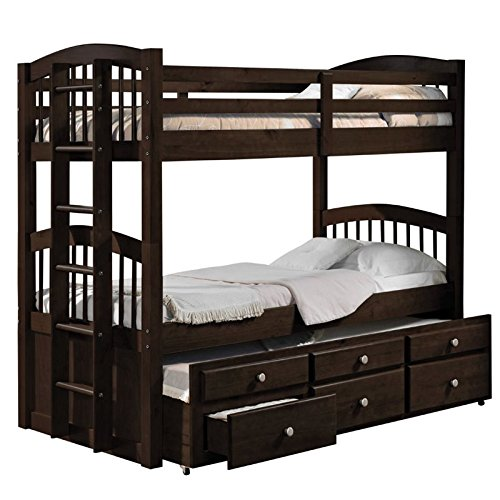 ACME Furniture 40000 Micah Bunk Bed with Trundle and 3 Drawers, Espresso, Twin over Twin by Acme Furniture