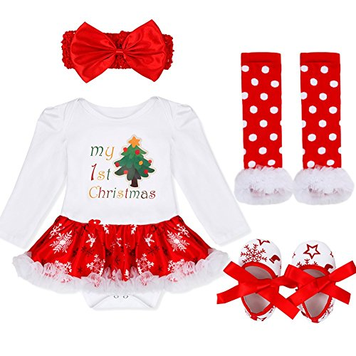 YiZYiF Baby Girl's My First Christmas Costume Party Jumpsuit 4 Pieces Tutu Clothing Set Xmas Tree 3-6 (Holiday Theme Party Costume)