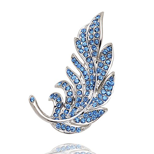 - Crystal feather brooch Korea accessories brooch pin girls jewelry-G
