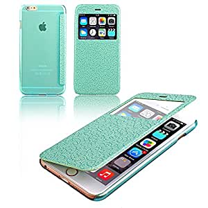 Nicelin(TM) Palace Flower Pattern TPU Flip Stand Case for Apple iPhone 6 Plus 5.5-inch (Green)