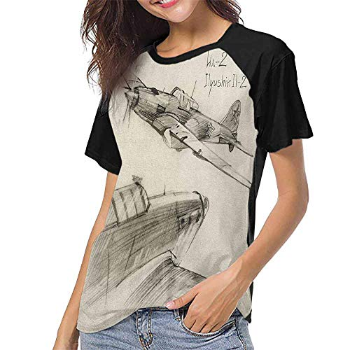 Airplane,Summer Custom Tees for Girls S-XXL(This is for Size Extra Large) Hand Drawn Series Soviet Military Enginery Jets Flights World War Aviation Sketc,Baseball T-Shirt Summer