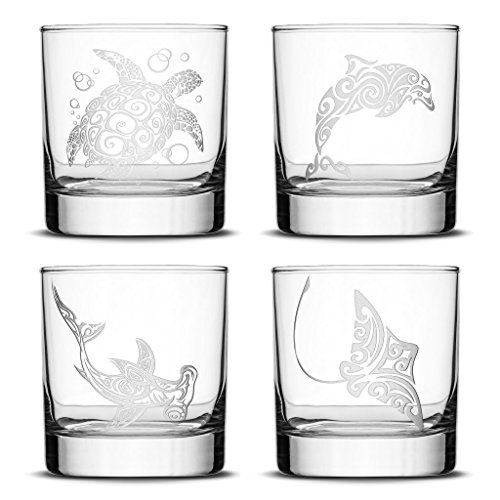 Set of 4, Premium Sea Animal Whiskey Glasses, Sea Turtle, Dolphin, Hammerhead Shark, Eagle Ray, Made in USA, Hand Etched Tribal Design, 10oz Rocks Glasses Sand Carved by Integrity ()