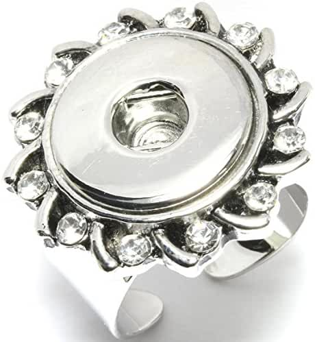 AnsonsImages Snap On Button Adjustable Rhinestone Flower Ring Holder Silver-Plated