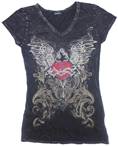 Rhinestone Heart Wing - Rhinestone Heart and Wings V-Neck Black Rhinestone T-Shirt (X-Small)