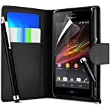 Black Sony Xperia E Premium Side Flip Wallet Pocket Case Cover, Screen Protect or and Polishing Cloth + High Capacitive Touch Screen Stylus