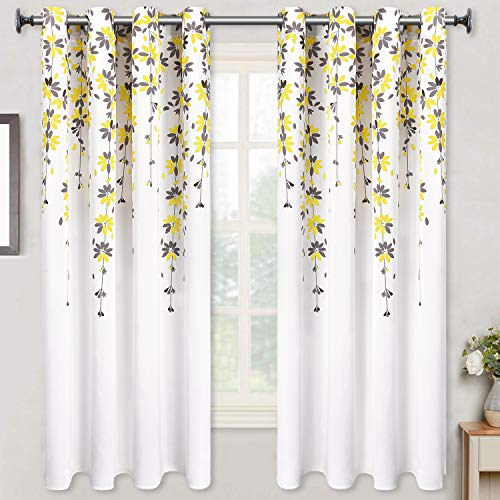 Flowers Window Curtain Floral Room Darkening Grommet Curtains 52 × 63 Inches Flower Drapes for Bedroom Living Room, Yellow, Set of 2 Panels (Curtains Flower)