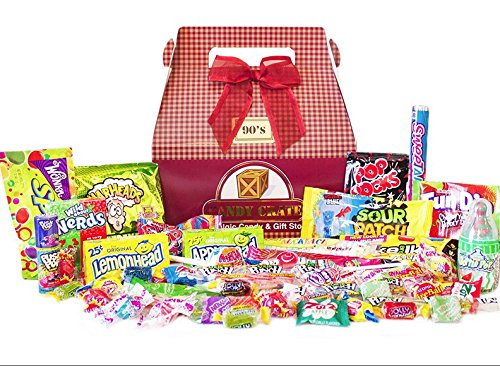 Candy Crate 1990's Decade Candy Gift Box - Over 2 Pounds of Nostalgic Favorites - Burgundy - Retro 1990