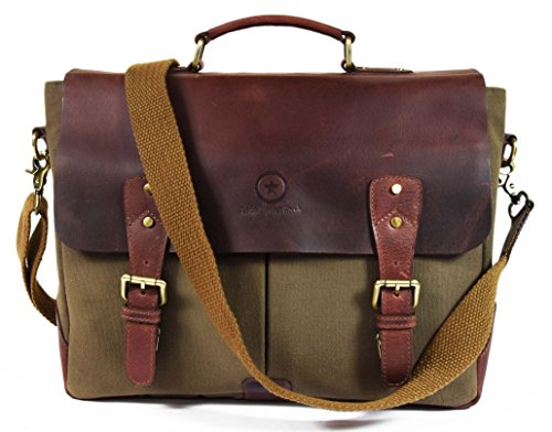 "14.5"" Vintage Handmade Leather Canvas Messenger Bag 