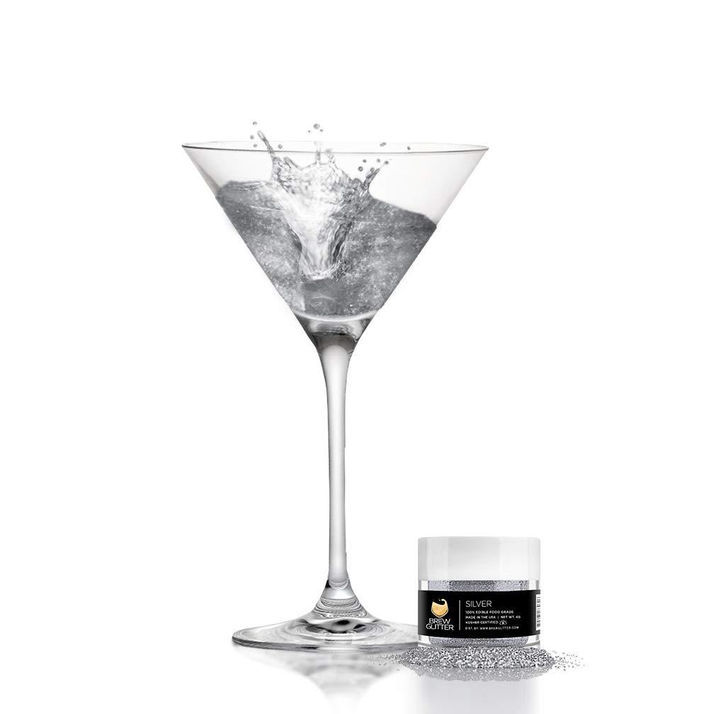 BREW GLITTER Silver Edible Glitter For Drinks, Cocktails, Beer, Drink Garnish & Beverages | 4 Gram | KOSHER Certified | 100% Edible & Food Grade | Kosher Certified | Vegan, Gluten, Nut Free
