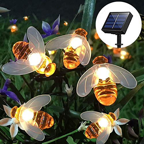 Czethor Solar String Lights with 20LED Outdoor Waterproof Simulation Honey Bees Decor for Garden Xmas Decorations Warm White