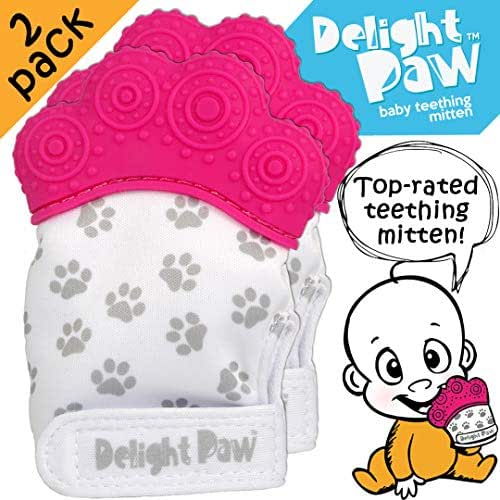 Delight Paw | Baby Teething Mitten 2 Pack | Mom Designed | for Self Soothing Pain Relief | Hygienic Travel Bag | BPA Free | Like Munch Mitt | Baby Boy Baby Girl | Babies 3-12 Months | Precious Pink