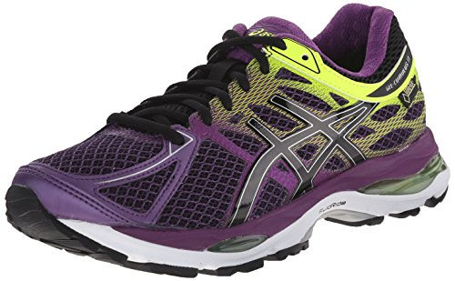 ASICS Women's Gel Cumulus 17 G TX Running Shoe, Plum/Onyx/Flash Yellow, 5.5 M US
